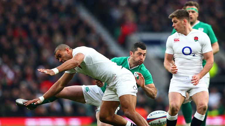 Rob Kearney competes for the ball with England's Jonathan Joseph at Twickenham