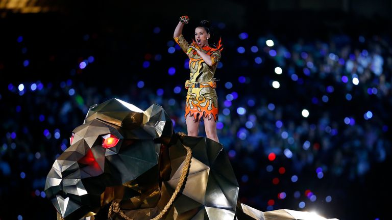 Singer Katy Perry made a grand entrance as she performed during the Super Bowl XLIX half-time show