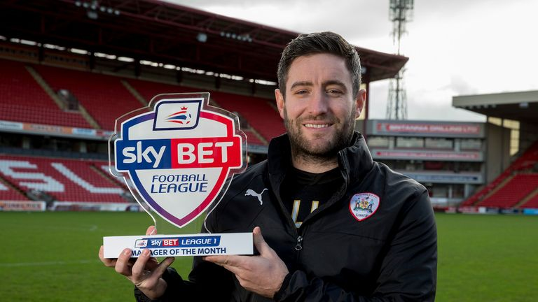 Barnsley Manager Lee Johnson with his Sky Bet League One Manager of Month Award for January.