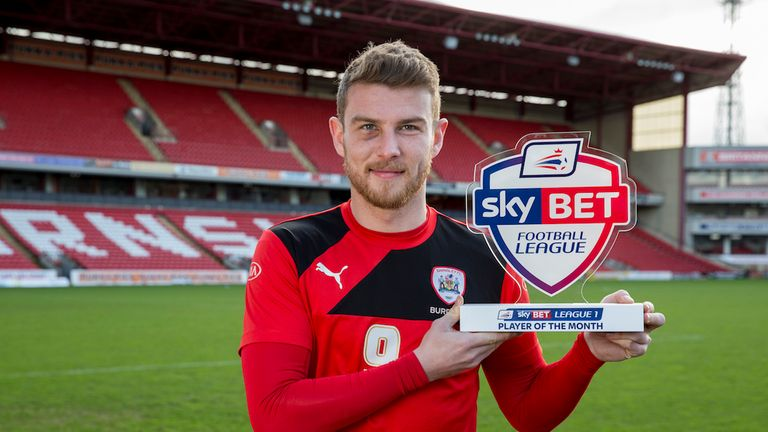 Barnsley's Sam Winnall  with his Sky Bet League One Player Of The Month Award for January.