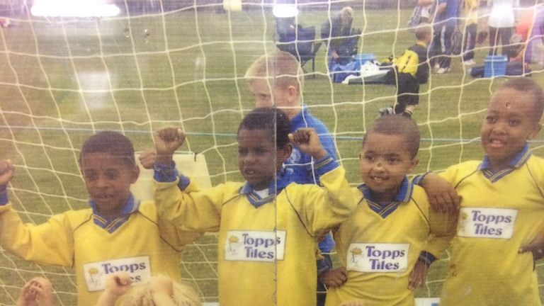 Marcus Rashford (second from left) aged 6 with Fletcher Moss