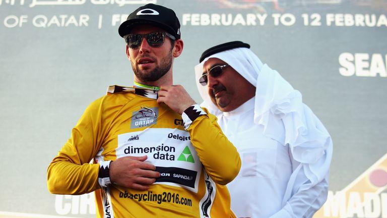 Mark Cavendish celebrates at the Tour of Qatar 2016