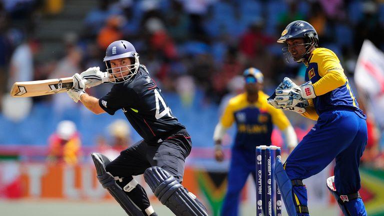 Michael Lumb steers the ball away past Kumar Sangakkara