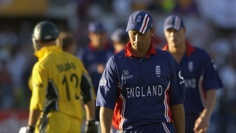 England were knocked out of the 2003 Cricket World Cup with a defeat to Australia in Port Elizabeth