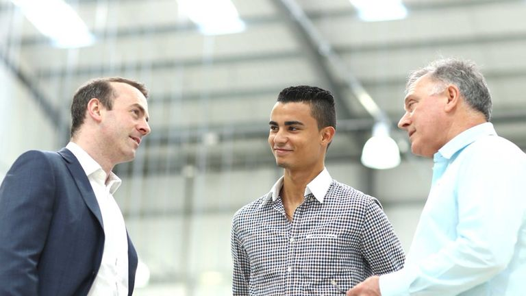Wehrlein with Manor owner Stephen Fitzpatrick (left) and racing director Dave Ryan (right)