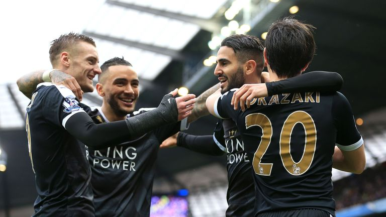 Leicester City's Riyad Mahrez celebrates scoring at the Etihad