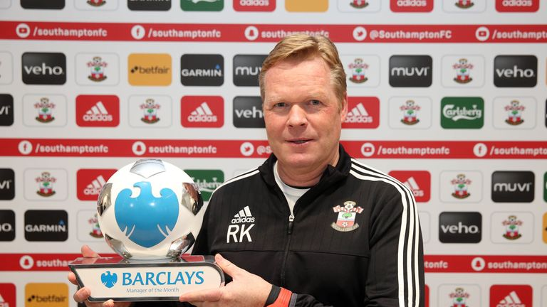 Southampton manager Ronald Koeman has won the Premier League Manager of the Month award for January