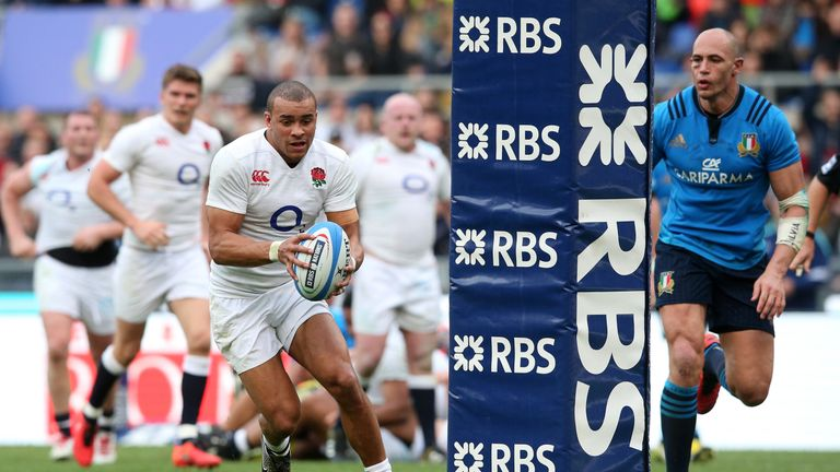 England centre Jonathan Joseph scores his second of three tries against Italy