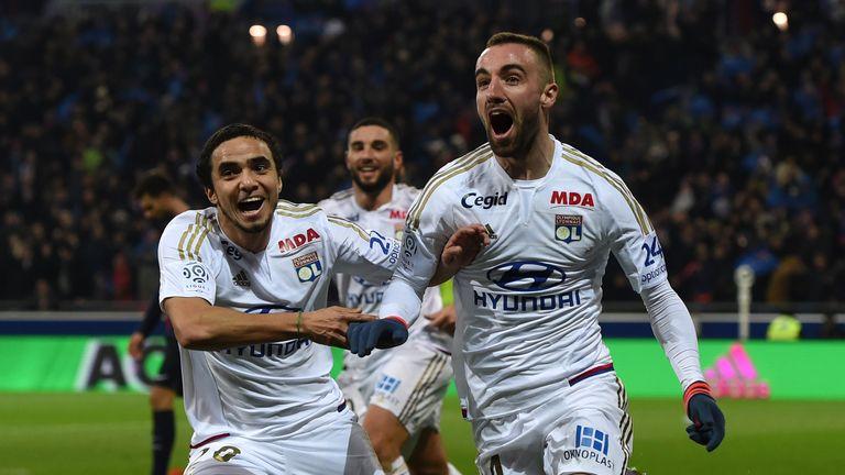 Lyon' Sergi Darder celebrates with Rafael Pereira Da Silva