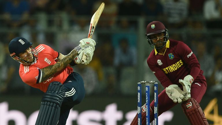 Alex Hales hits out against West Indies in England's first World T20