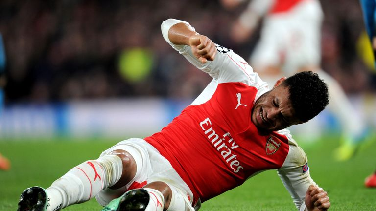Arsenal's Alex Oxlade-Chamberlain was injured against Barcelona