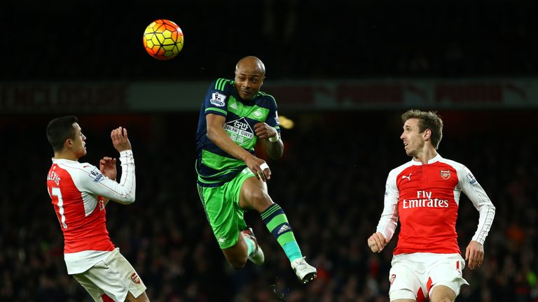Swansea's Andre Ayew will miss the game against Stoke