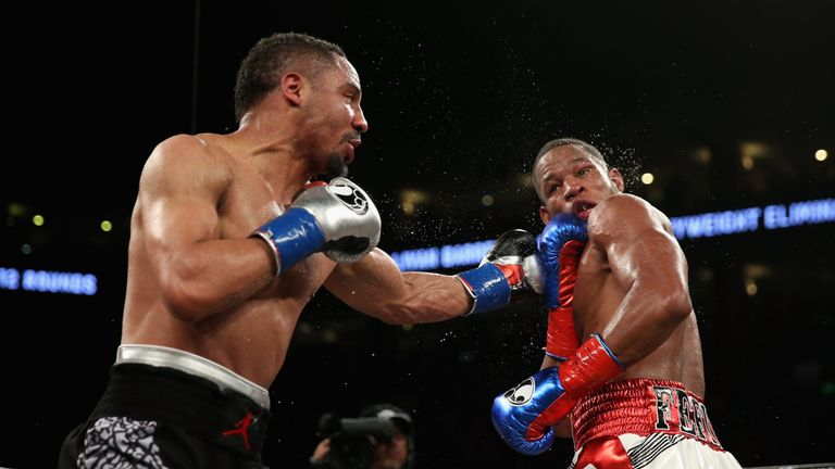 Andre Ward (left) returned to the ring to beat Sullivan Barrera