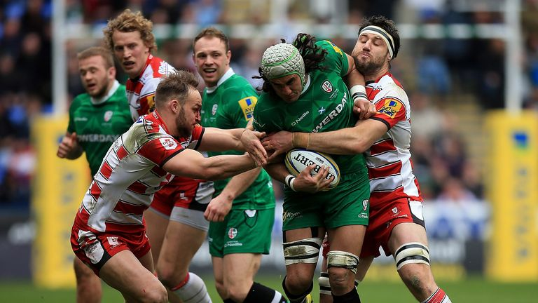 Blair Cowan powers through the Gloucester defence but he could move on if Irish are relegated