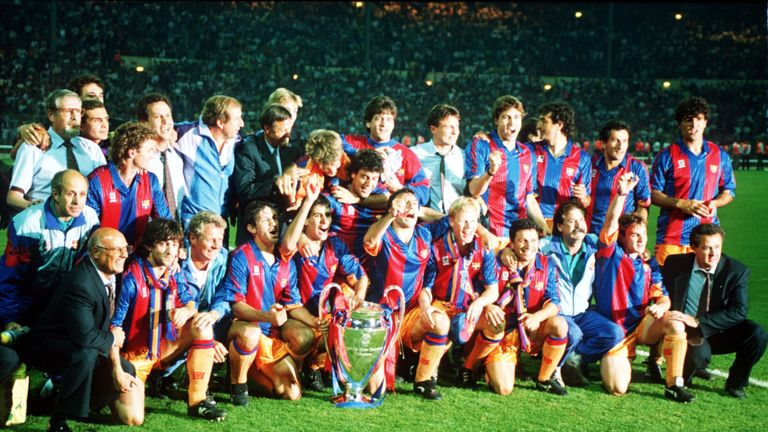 The Barcelona Dream Team celebrate their 1992 European Cup triumph