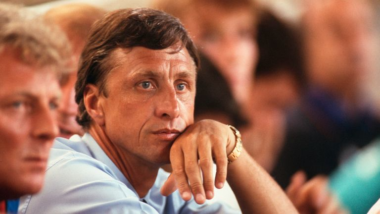 Former Barcelona manager Johan Cruyff pictured in the dugout in 1992