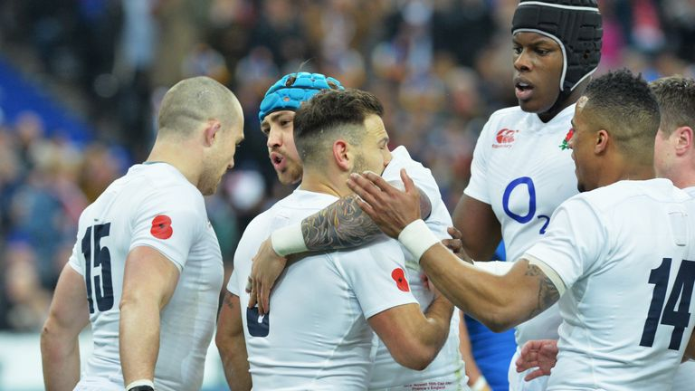 England celebrate Danny Care's first-half try