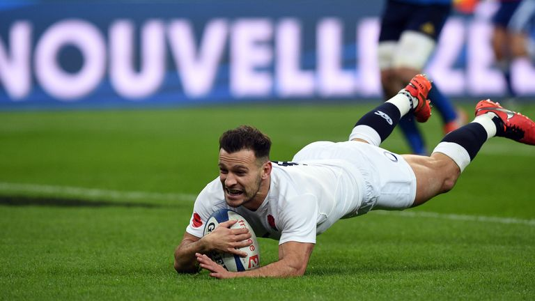 Danny Care dives over for England's first try