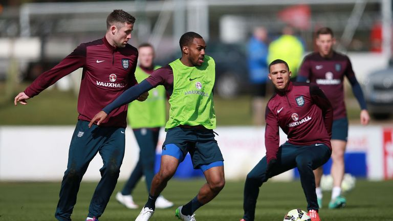 Danny Rose (centre) will make his England debut against Germany on Saturday