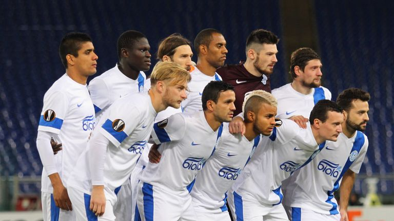 The Dnipro team lines up for a photograph during this season's Europa League
