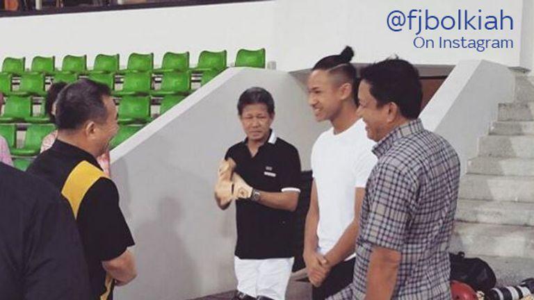 Faiq Jefri Bolkiah (second right) has signed for Leicester (Picture via @fjbolkiah)