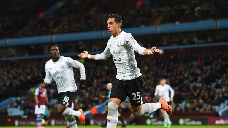 Ramiro Funes Mori celebrates scoring his team's first goal against Aston Villa