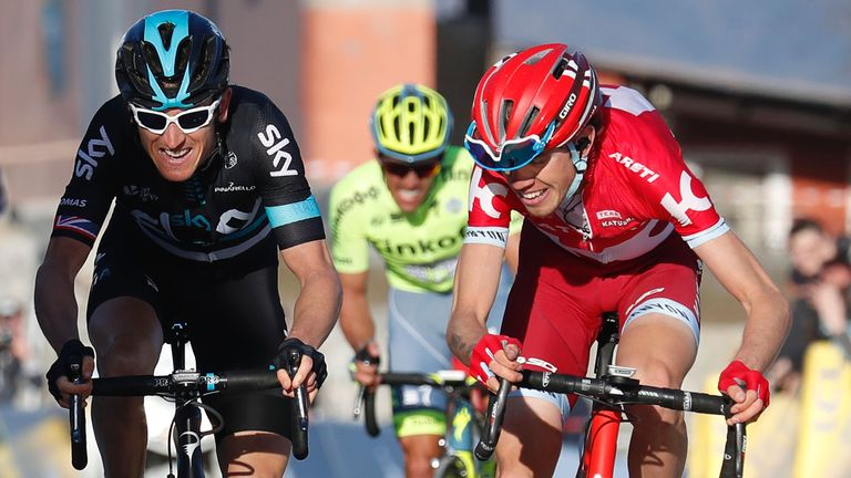 Geraint Thomas (left) battles for victory on stage six with Ilnur Zakarin