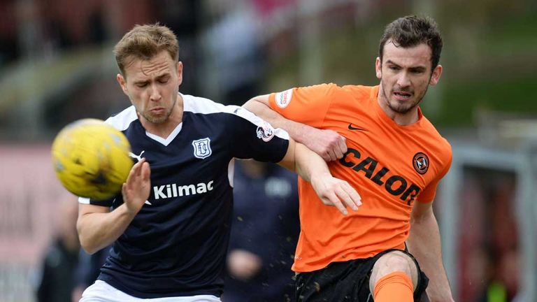 Greg Stewart (left) holds off Gavin Gunning during Dundee v Dundee Utd