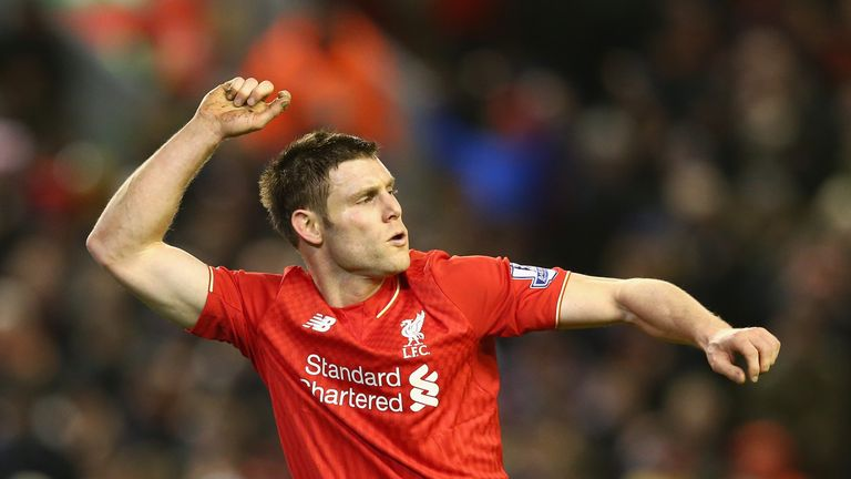 Milner celebrates Liverpool's second against City