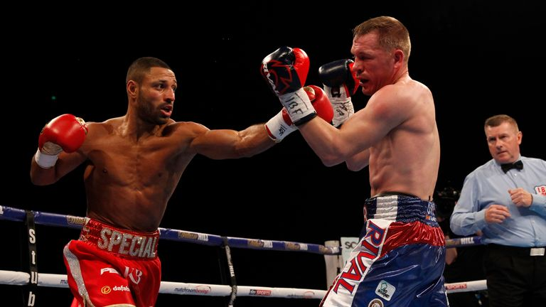 Brook (left) stopped mandatory challenger Kevin Bizier in his last fight