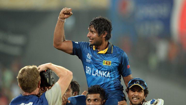 Kumar Sangakkara is carried aloft after Sri Lanka's World Twenty20 triumph in 2014