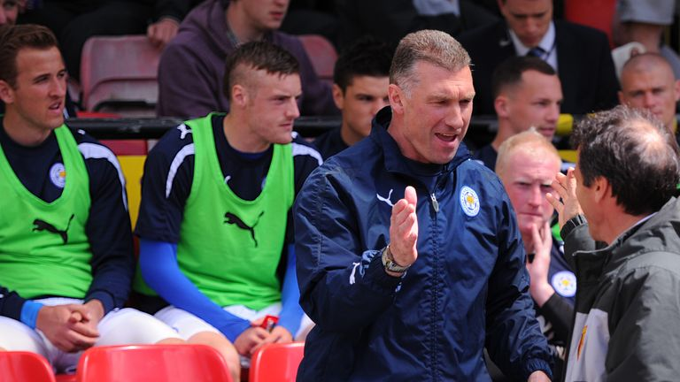 Harry Kane pictured alongside Jamie Vardy on Leicester's bench in 2013