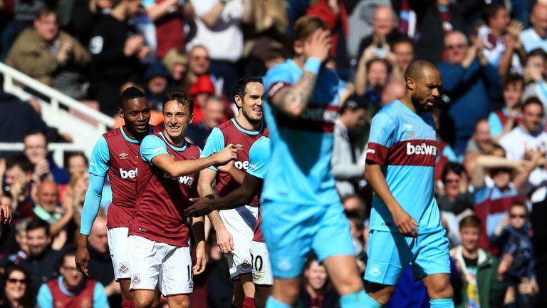 Noble celebrates scoring during his testimonial match