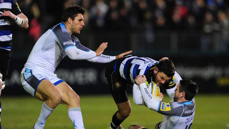 Mike Delany of Newcastle collars Bath's Jeff Williams
