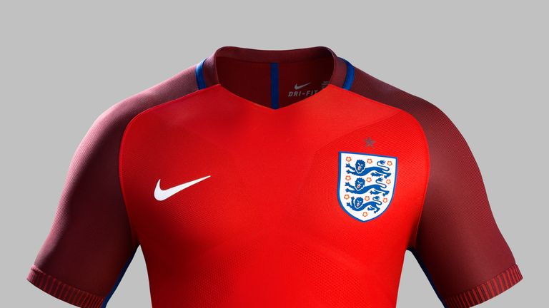 Nike has produced a two-tone red away kit for England's Euro 2016 campaign