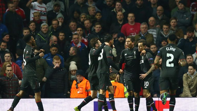 Liverpool celebrate Philippe Coutinho's crucial away goal