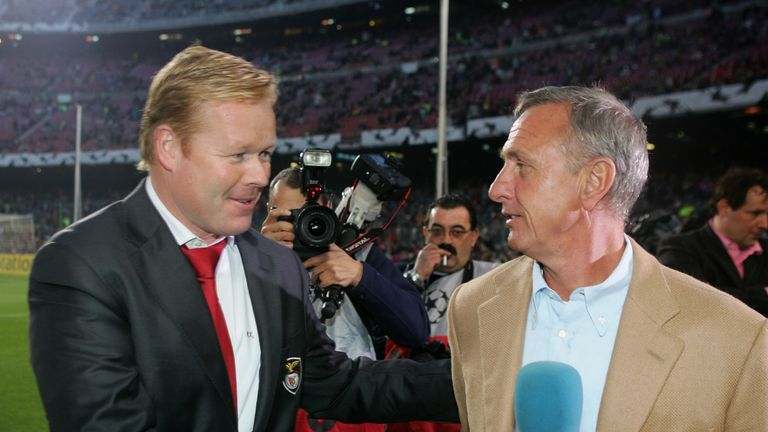 Ronald Koeman pictured with his former mentor Johan Cruyff