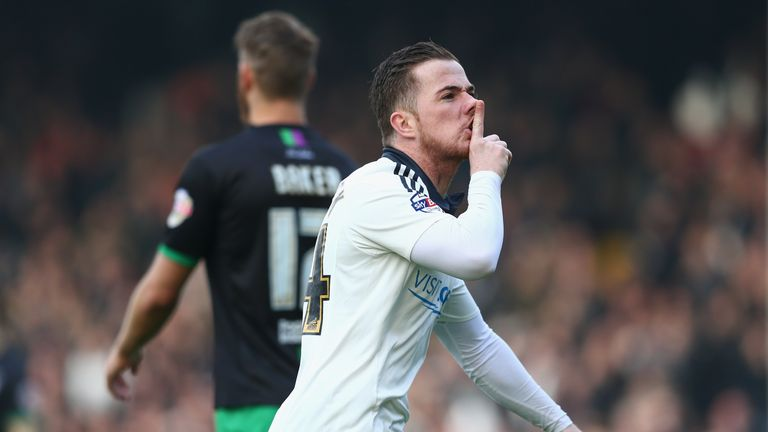 Ross McCormack of Fulham celebrates scoring his team's first goal