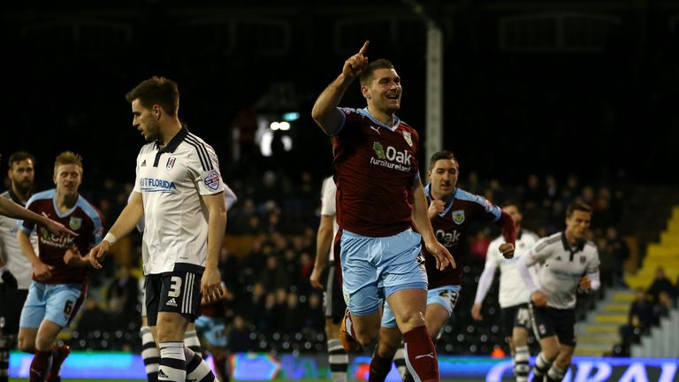 Sam Vokes celebrates scoring the first goal against Fulham