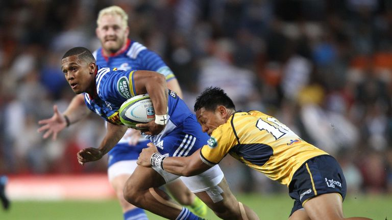 Leolin Zas of the Stormers with the ball against the Brumbies at Newlands on Saturday