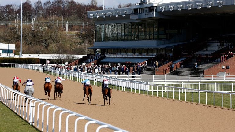 A general view as runners race towards the finish and grandstands at Wolverhampton