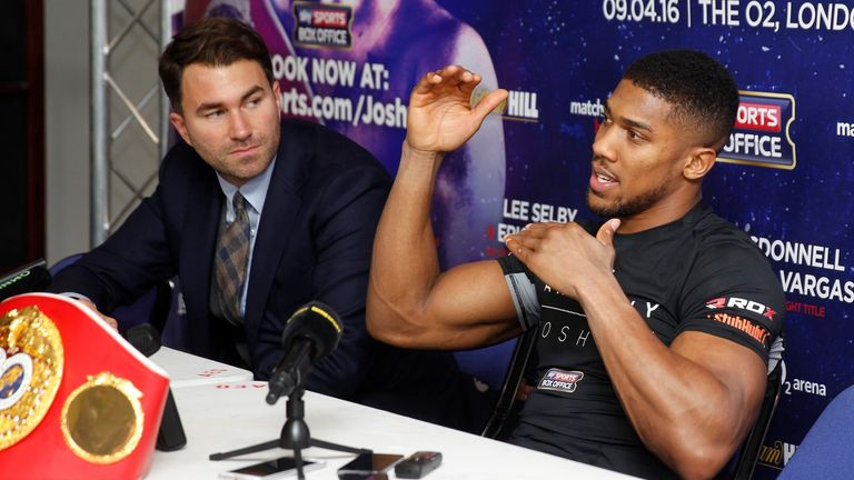 Joshua is confident his promoter Eddie Hearn (left) will make the fight between him and Klitschko happen