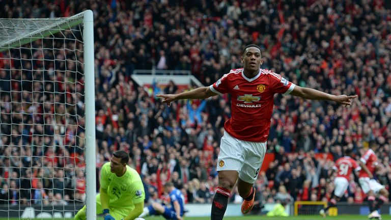 Anthony Martial celebrates after scoring Man Utd's winner against Old Trafford