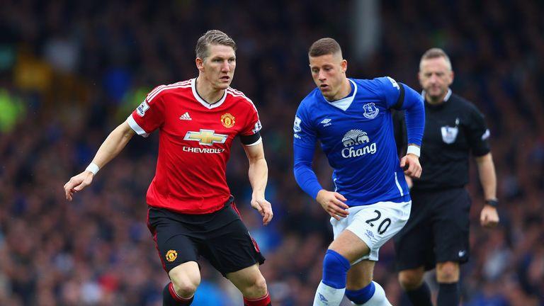 Schweinsteiger in action for Manchester United against Everton