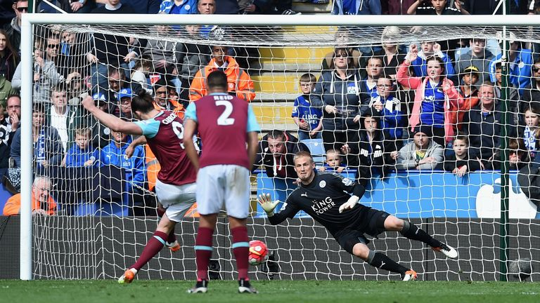 Andy Carroll scores West Ham's equaliser from the penalty spot against Leicester