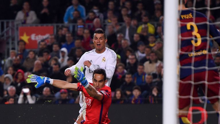 Cristiano Ronaldo scores the winning goal in Barcelona v Real Madrid
