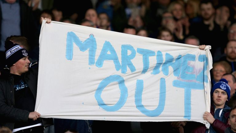Everton fans have protested against their manager after a disappointing season