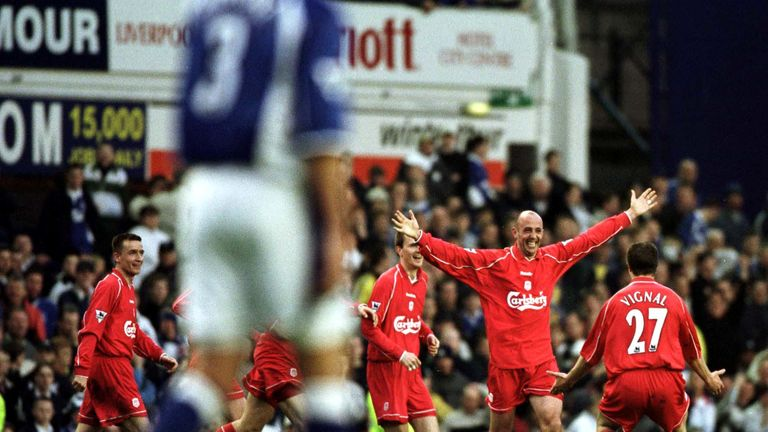 Gary McAllister of Liverpool celebrates after scoring the winner at Goodison Park