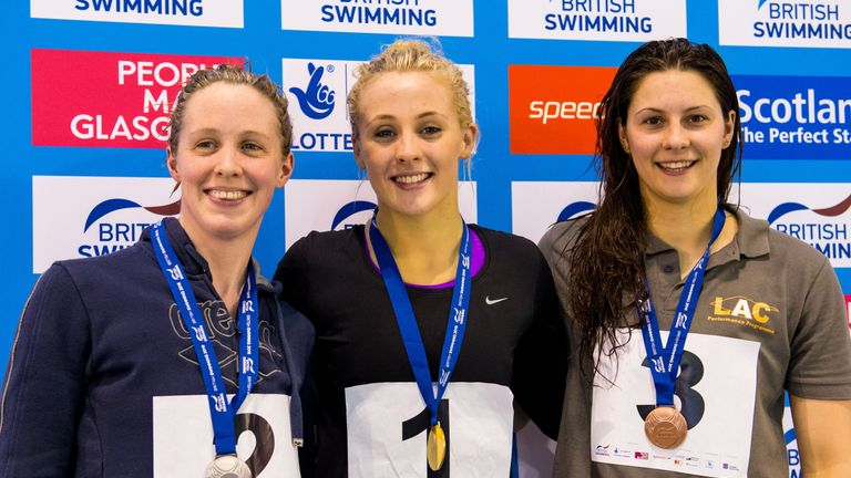 O'Connor (centre) with Hannah Miley (left) and and Aimee Willmott