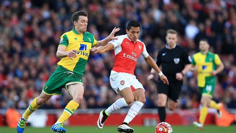 Norwich City's Jonny Howson and Arsenal's Alexis Sanchez battle for the ball